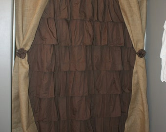 Items Similar To Burlap And Cotton Ruffle Shower Curtain On Etsy