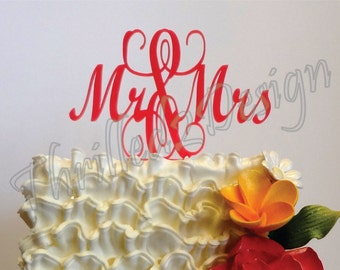 4 inch Mr and Mrs CAKE TOPPER - Wedding, Anniversary