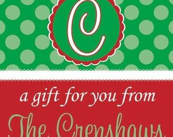 Monogram on green polka dot Christmas Gift Tag