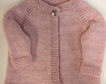 Handmade Knitted Pink Baby Sweater Cardigan