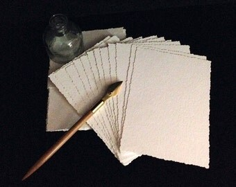 Packet of 5 x 7 Watercolor Paper or Multi Media-Paper/ Postcards with Deckled Edge