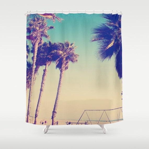 items similar to venice beach palm trees shower curtain green bathroom decor california los. Black Bedroom Furniture Sets. Home Design Ideas