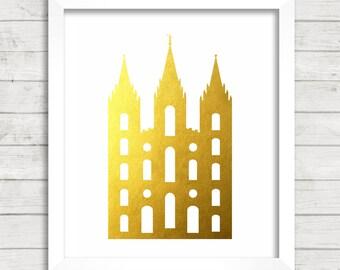 8x10 INSTANT DOWNLOAD - Salt Lake City LDS Temple - Gold Foil - Art Print - Home Decor