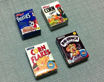4 Corn Flakes Boxes Packs Packets Breakfast Miniature Cereal Food Cute Small Carton Box Pack Packet Dollhouse Jewelry Beads Supplies 1/12
