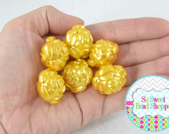 24mm Acrylic Pearl Flower Beads, 6ct, Golden Yellow