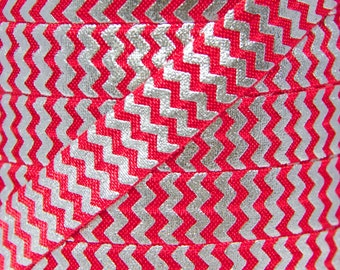 5 YARDS Red & Silver Metallic Chevron Fold Over Elastic - Elastic for Baby Headbands and Hair Ties - 5 Yards 5/8 inch Printed FOE