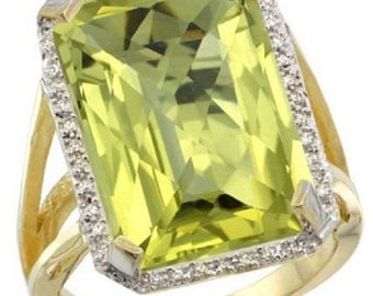 14K Yellow Gold Diamond Natural Lemon Quartz Ring