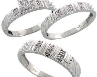 10k White Gold Diamond Trio Engagement Wedding Ring Set for Him Her 3-piece 5mm & 3.5mm wide 0.14 cttw Brilliant Cut, ladies 5-10, mens 8-14