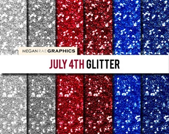 Digital paper - 8x8 JULY 4TH GLITTER digital paper pack (Red, White & Blue glitter high resolution digital papers)