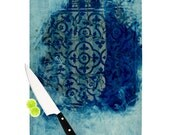 """Cutting Board - Frederic Levy-Hadida """"Mosaic in Cyan"""" Great Hostess Gift - Matches Placemats!"""