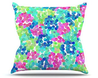 "Outdoor Throw Pillow - Beth Engel ""Flower Garden"" Great Hostess Gift! - Matches Outdoor Rugs!"