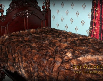 FUR ACCENTS  Faux Fur Bedspread / Rich Brown Tones / Wolverine / Bear Fur with Minky Cuddle Lining