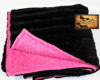 FUR ACCENTS Minky Cuddle Fur Throw  Blanket / Reversible / Black Shear Stripe and Pink Minky Dot