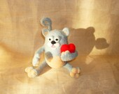 ART toy CAT.Needle felted Toy Gray CAT .Soft sculpture.Home decor.Collectible toy cat.