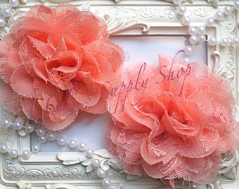"""Set of 2 - Peach 3.75"""" Fabric flowers - Lace Flowers - shredded lace flower - chiffon flower - lace rose - Wholesale DIY Supplies"""