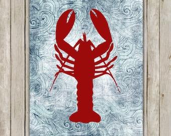 8x10 Lobster Printable, Sea Animal Wall Art, Beach Wall Art, Seaside Art, Lobster Poster, Home Decor, Beach Art, Instant Digital Download