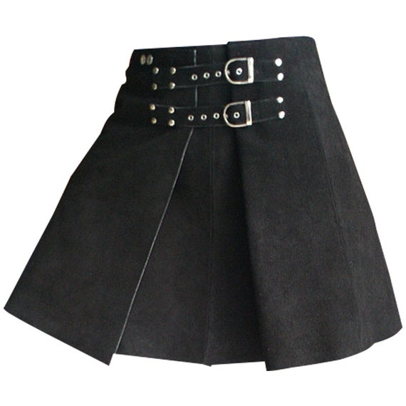 gladiator warrior suede leather kilt skirt by