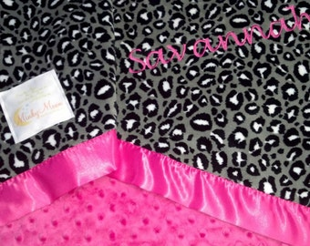 FREE SHIPPING Personalized Baby Blanket with Black, White and Grey Leopard Cheetah Jaguar Print Minky