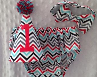 Boys Cake Smash Outfit - Gray Aqua Red Chevron - Diaper Cover, Bow Tie & Birthday Hat - Birthday Set