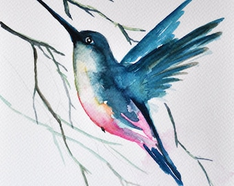 ORIGINAL Watercolor painting 7x10 inch, Blue Turquoise, Flying Hummingbird Painting