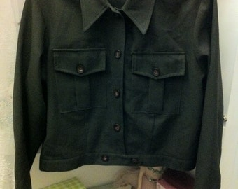 Vintage Forest Green Button Up Collar Cropped Military Style Jacket
