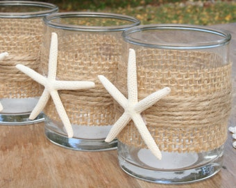 6 Starfish and Burlap Votives