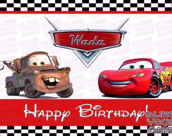 Disney Cars Mater & McQueen Logo Edible Icing Sheet Cake Decor Topper - DC4