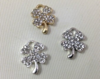 10 pcs. Four Leaf  clover Charms  ,  Lucky Clover Charm lFour Leaf Clover Pendants  , Four Leaf Clover Jewelry.  Crystal