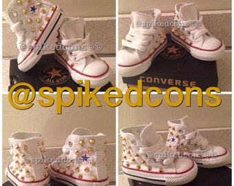 SALE-Select colors!!!!!High top Spike studded converse toddler sizes 4c-10c