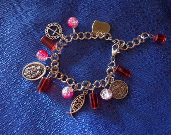 Christian Charm Bracelet, Jesus Fish Charm, Holy Family Charm, Cross, St. Benedict Medal & Heart,Silver Charm Bracelet,Religious Bracelet,