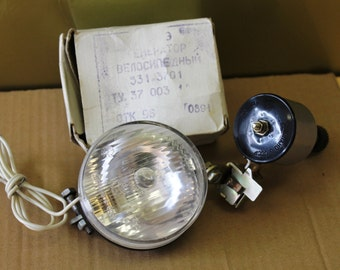 Generator with a bicycle headlamp.Vintage USSR. NEW. 6 V,3 W