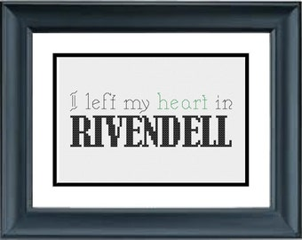 I Left My Heart In Rivendell - The Lord of the Rings - The Hobbit - JRR Tolkien - PDF Cross-Stitch Pattern
