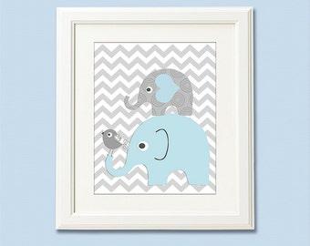 Light blue and grey ELEPHANT nursery Art Print - 8x10- Children wall art, kids Room Decor, baby boy room, boys wall art, bird -UNFRAMED