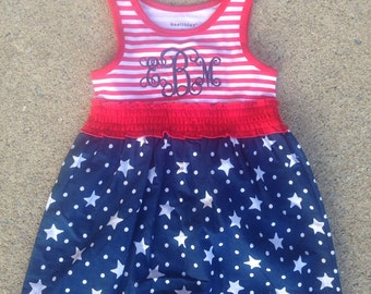 Sale Monogrammed Fourth of July dress, Patriotic dress, Embroidered Dress, 12 months--5T, Fourth of July Outfit