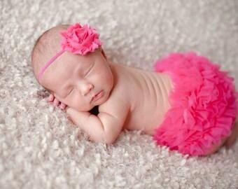 Hot Pink Ruffle Bloomer, diaper cover, newborn bloomer, photo prop