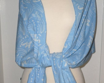 Handmade Hand-Stamped Wax Batik Scarf - All Seasons Cotton Fashion Scarf, Shawl, Pashmina, Periwinkle Blue Scarf