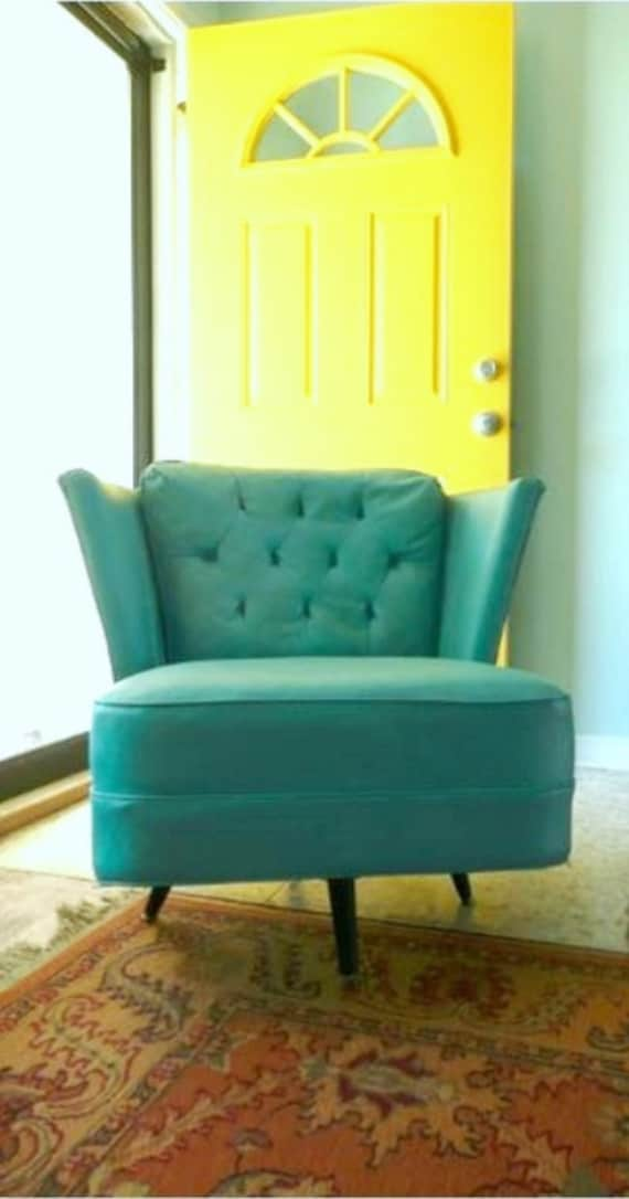 items similar to reserved mid century modern turquoise vinyl swivel chair on etsy. Black Bedroom Furniture Sets. Home Design Ideas
