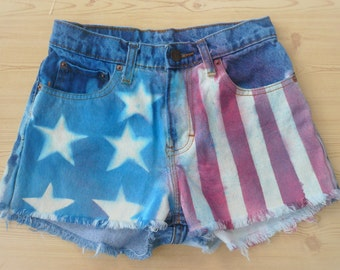 American flag cutoff shorts, high waisted, size 1 Jordache, 90's, hand painted, graffiti, bleached, dyed