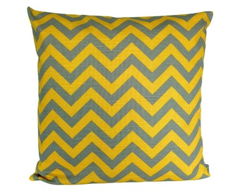CHEVRON pillow grey yellow zigzag stripe linen structure 50 x 50 cm