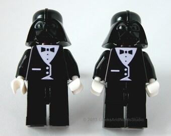 Made with LEGO bricks - Star Wars Darth Vader with Black Tuxedo Figure Silver Cufflinks - Mens Cufflinks - Groomsmen Gift - Best Man - Dad