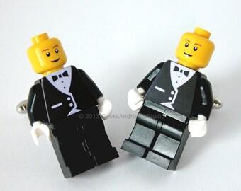Groomsmen Cufflinks - LEGO Black Tuxedo Figure Silver Cufflinks - Mens - Weddings - Groom Present - Geek Cufflinks