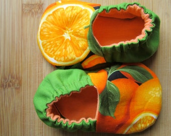 Oranges, citrus baby clothes, baby chef clothes, vegetarian baby, vegan shoes,eat local vegan baby clothes,organic farmer, organic hoes