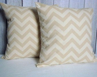 Throw Pillow Covers Set of Two 20x20 Natural Chevron