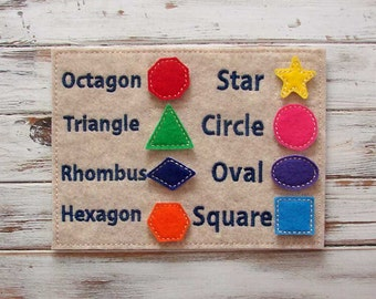 Learning Shapes - Kids, Felt Toy - Learning Game - Educational Toy - Preshool - Home School