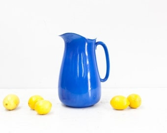 Bright Blue Staffordshire Empire Ware Pitcher Made in Stoke on Trent