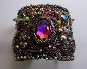 Treasure Box- Bead Embroidered Shibori Ribbon Cuff