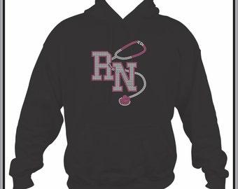 Rhinestone RN Nurse/ Nurse Sweatshirt/ Nurse Gift/ RN with Stethoscope Black Hoodie Sweatshirt