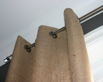 Burlap Curtain 68''-  Panel with grommets - choose your length