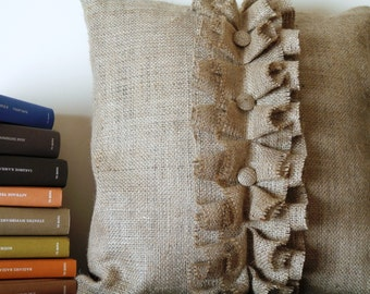 Burlap Ruffles pillow cover with buttons