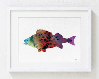 Colorful Fish Watercolor Print - 5x7 Reproduction Art Print - Fish Print - Sea, Aquatic Art - Gift, Wall Decor, Home Decor, Housewares